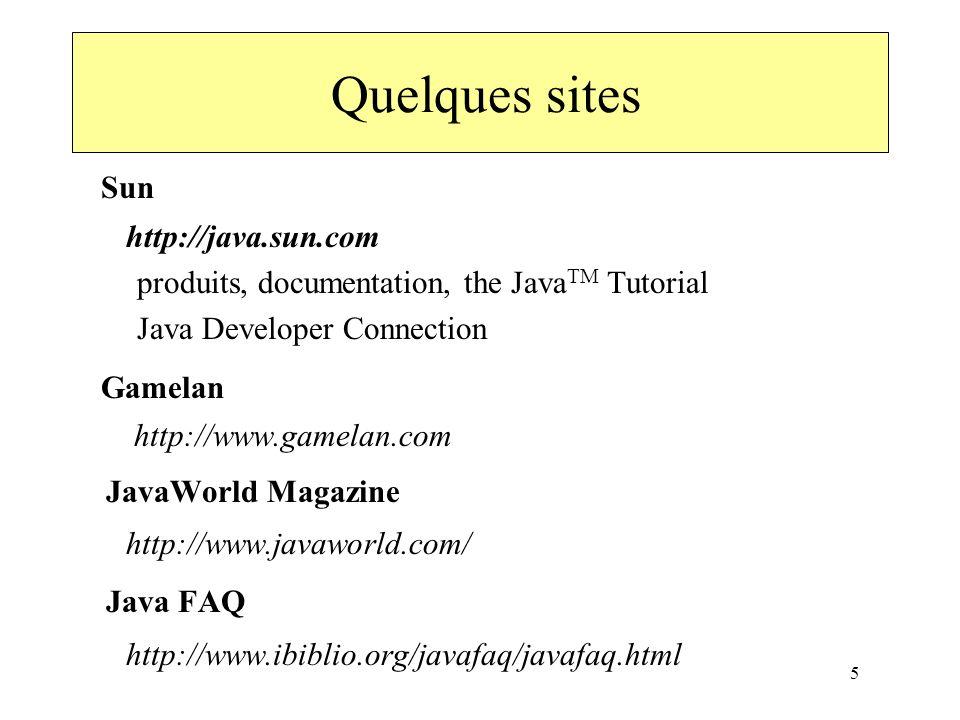 5 Quelques sites Sun http://java.sun.com produits, documentation, the Java TM Tutorial Java Developer Connection Gamelan http://www.gamelan.com JavaWo