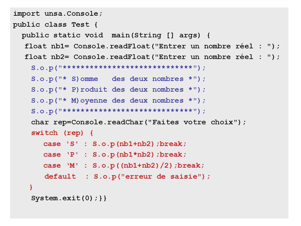 50 import unsa.Console; public class Test { public static void main(String [] args) { float nb1= Console.readFloat(