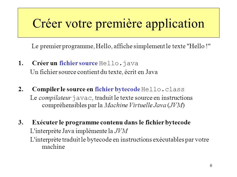6 Créer votre première application Le premier programme, Hello, affiche simplement le texte