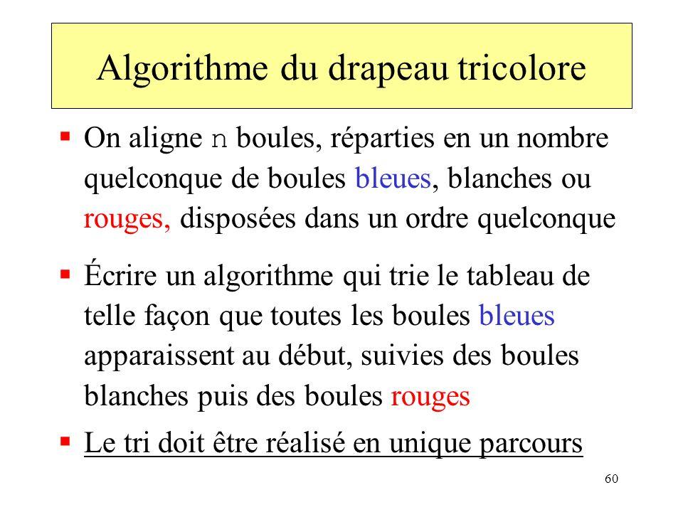 60 On aligne n boules, réparties en un nombre quelconque de boules bleues, blanches ou rouges, disposées dans un ordre quelconque Écrire un algorithme