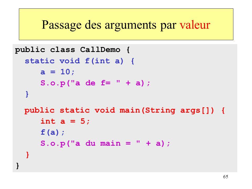 65 Passage des arguments par valeur public class CallDemo { static void f(int a) { a = 10; S.o.p(