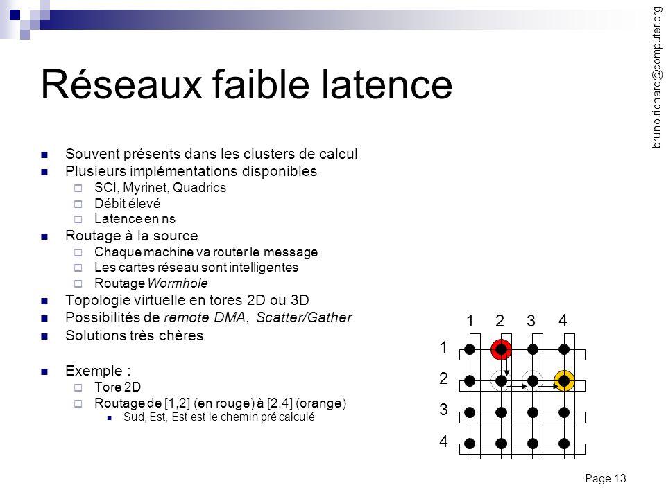 Page 13 bruno.richard@computer.org Réseaux faible latence Souvent présents dans les clusters de calcul Plusieurs implémentations disponibles SCI, Myri