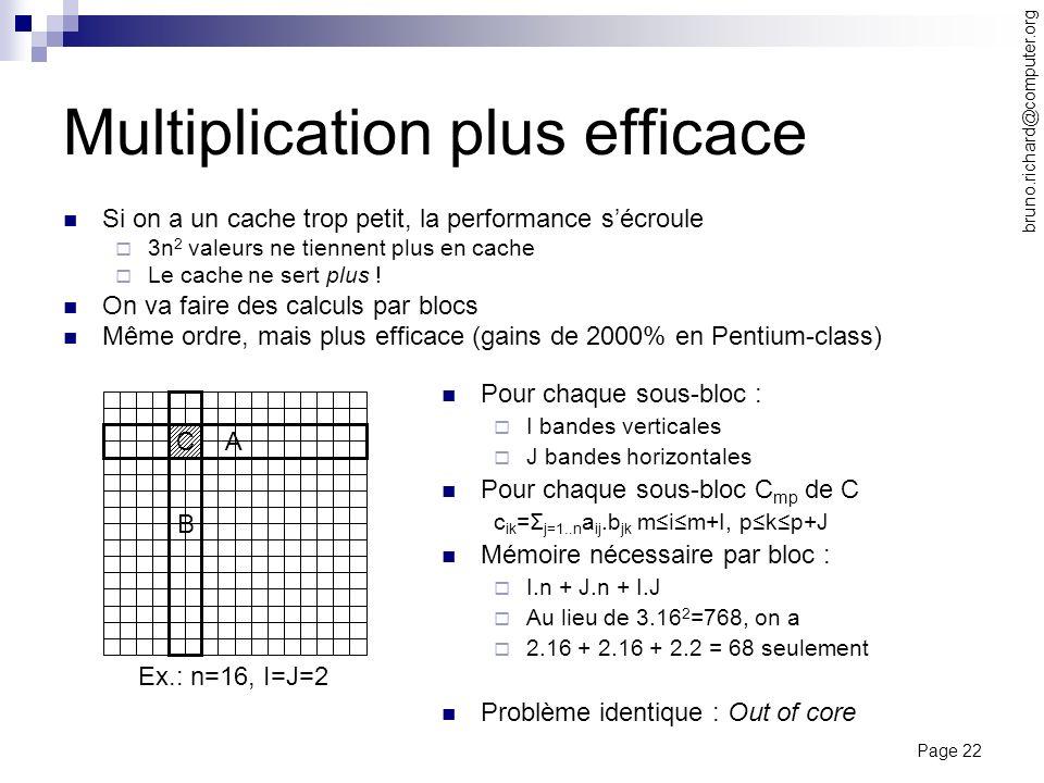 Page 22 bruno.richard@computer.org Multiplication plus efficace Si on a un cache trop petit, la performance sécroule 3n 2 valeurs ne tiennent plus en
