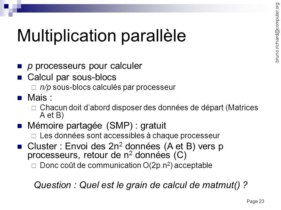 Page 23 bruno.richard@computer.org Multiplication parallèle p processeurs pour calculer Calcul par sous-blocs n/p sous-blocs calculés par processeur M