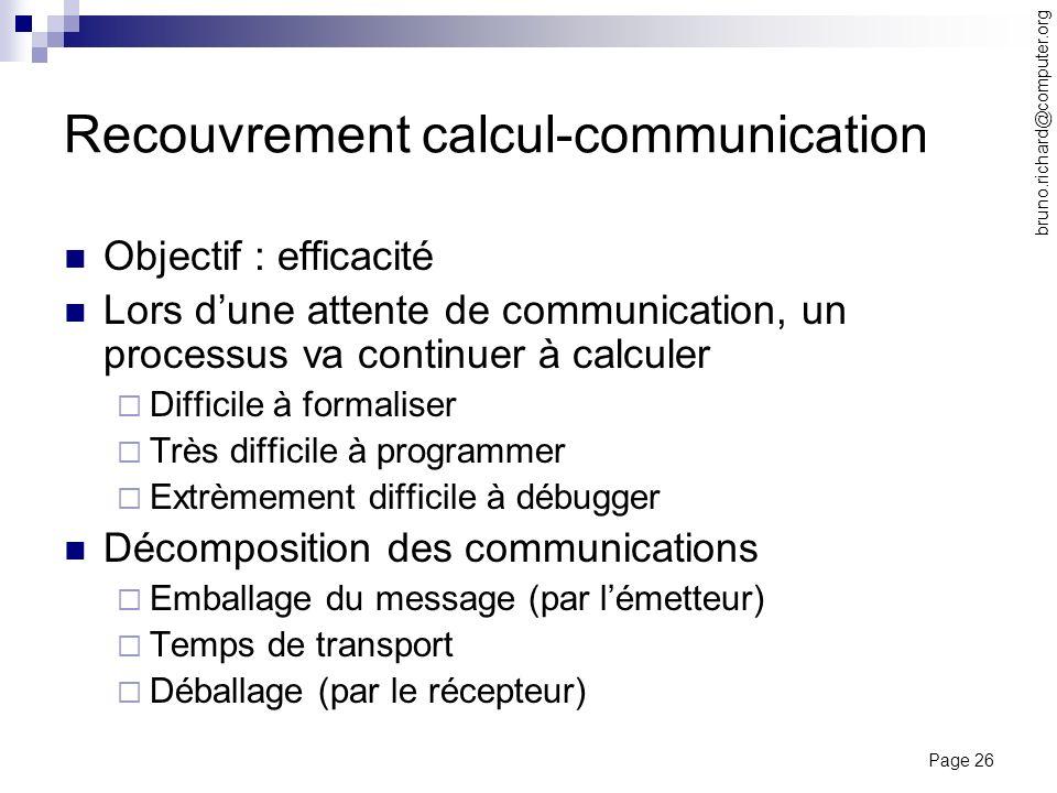 Page 26 bruno.richard@computer.org Recouvrement calcul-communication Objectif : efficacité Lors dune attente de communication, un processus va continu
