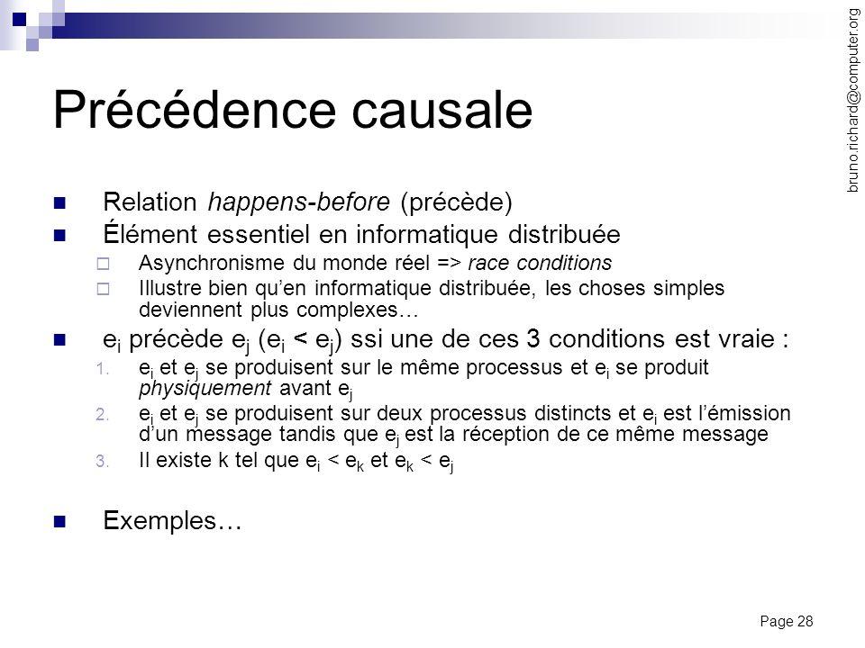 Page 28 bruno.richard@computer.org Précédence causale Relation happens-before (précède) Élément essentiel en informatique distribuée Asynchronisme du