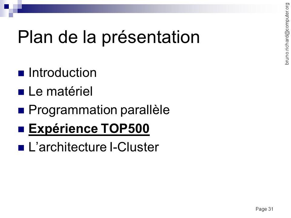 Page 31 bruno.richard@computer.org Plan de la présentation Introduction Le matériel Programmation parallèle Expérience TOP500 Larchitecture I-Cluster