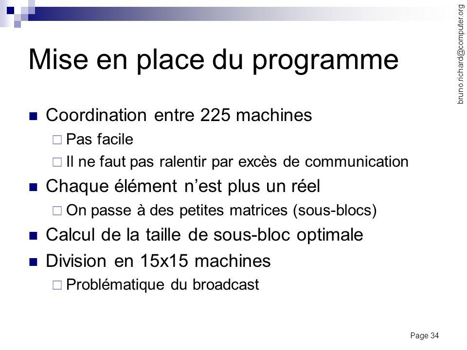 Page 34 bruno.richard@computer.org Mise en place du programme Coordination entre 225 machines Pas facile Il ne faut pas ralentir par excès de communic