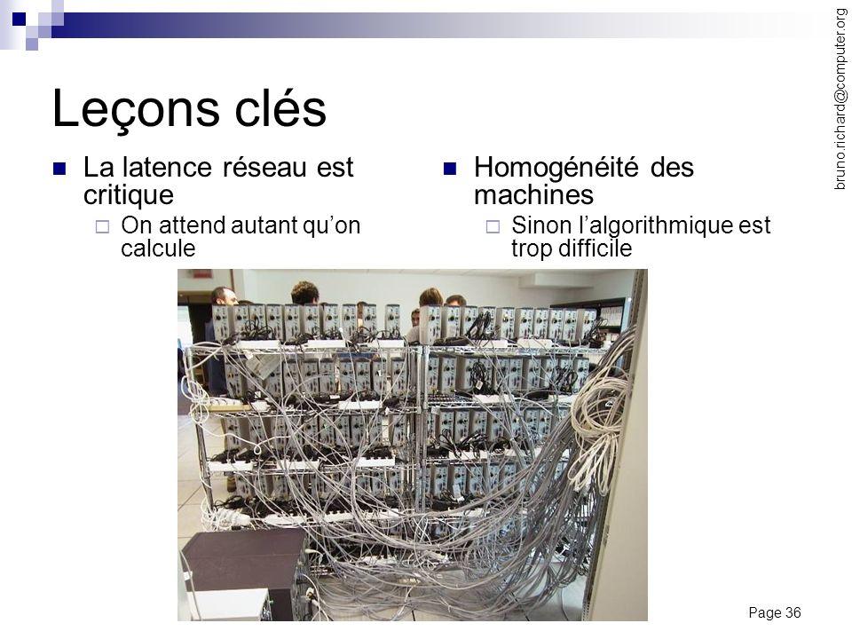 Page 36 bruno.richard@computer.org Leçons clés La latence réseau est critique On attend autant quon calcule Homogénéité des machines Sinon lalgorithmi