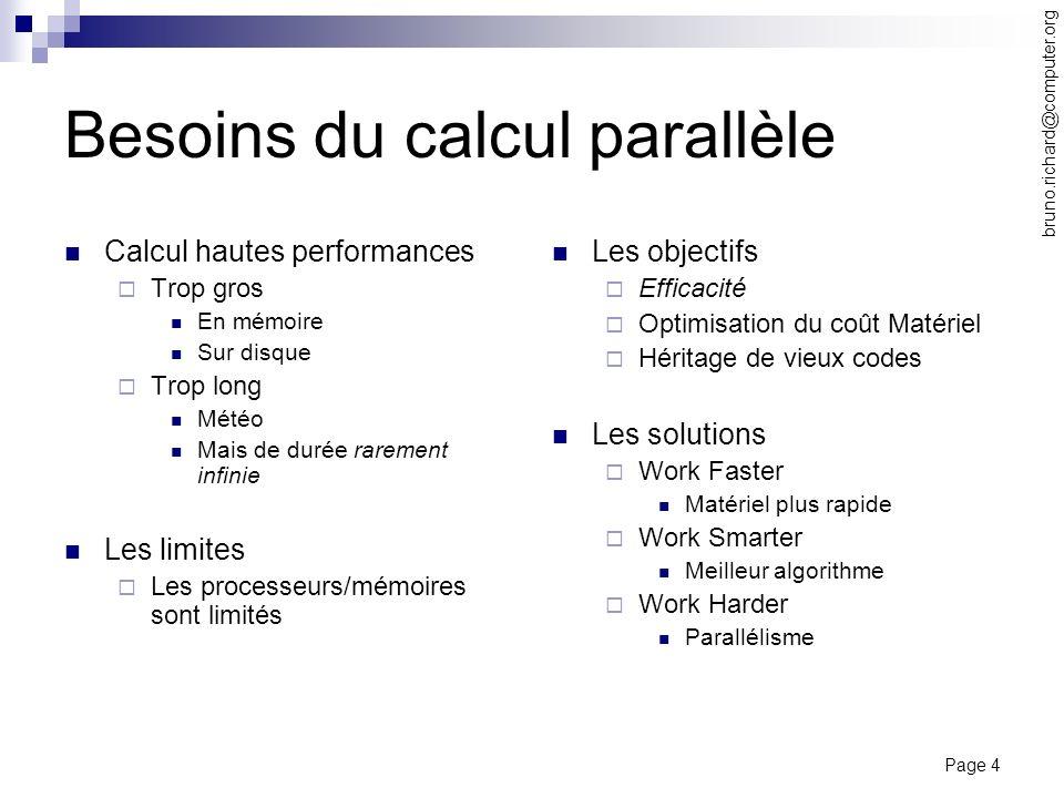 Page 4 bruno.richard@computer.org Besoins du calcul parallèle Calcul hautes performances Trop gros En mémoire Sur disque Trop long Météo Mais de durée