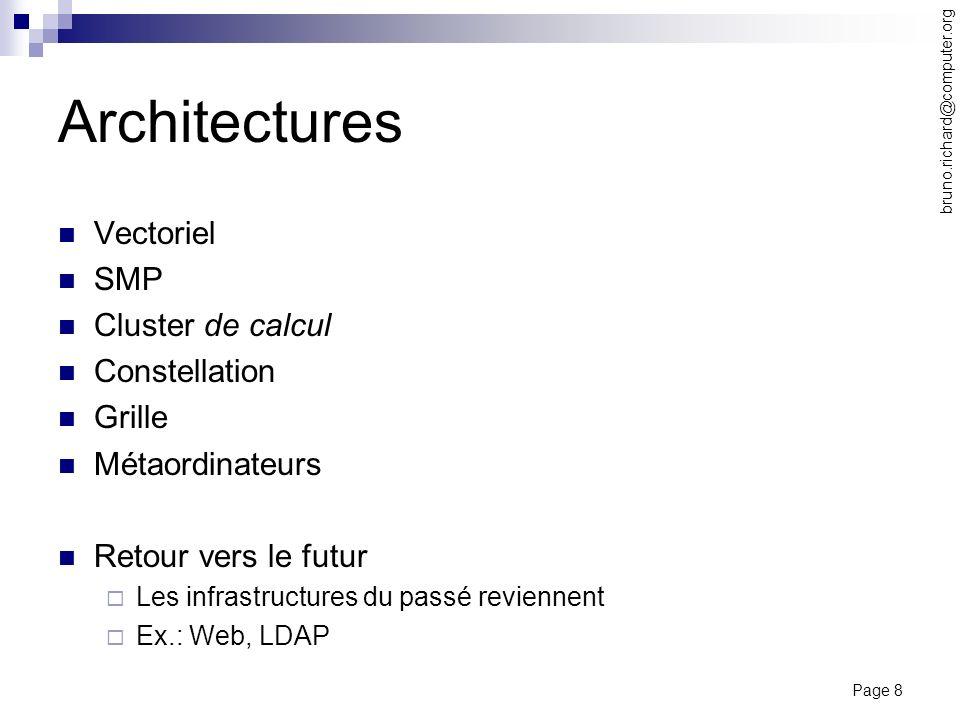 Page 8 bruno.richard@computer.org Architectures Vectoriel SMP Cluster de calcul Constellation Grille Métaordinateurs Retour vers le futur Les infrastr