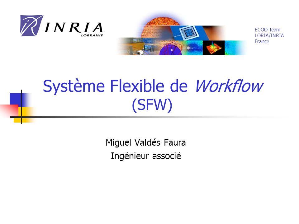 Système Flexible de Workflow (SFW) Miguel Valdés Faura Ingénieur associé ECOO Team LORIA/INRIA France