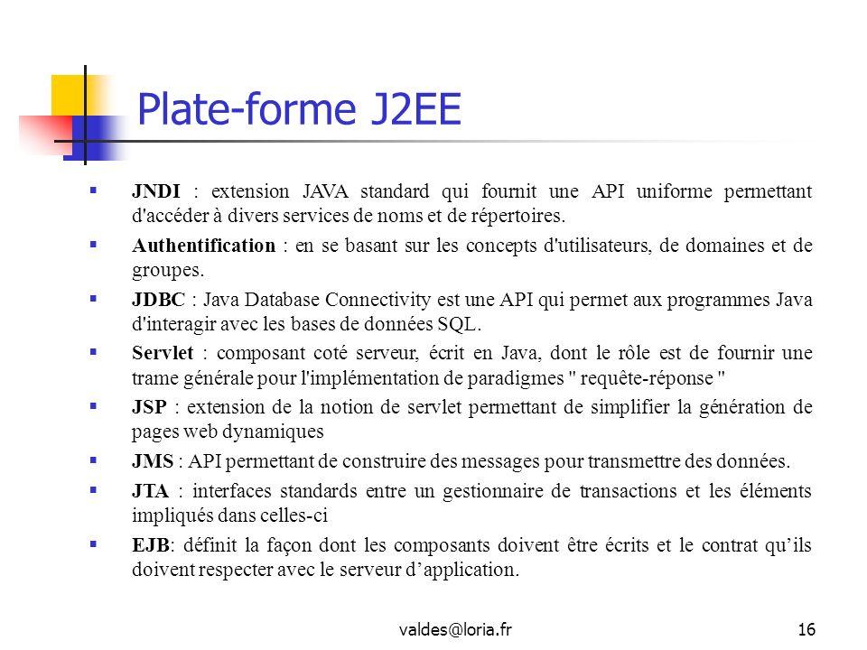 valdes@loria.fr16 Plate-forme J2EE JNDI : extension JAVA standard qui fournit une API uniforme permettant d'accéder à divers services de noms et de ré
