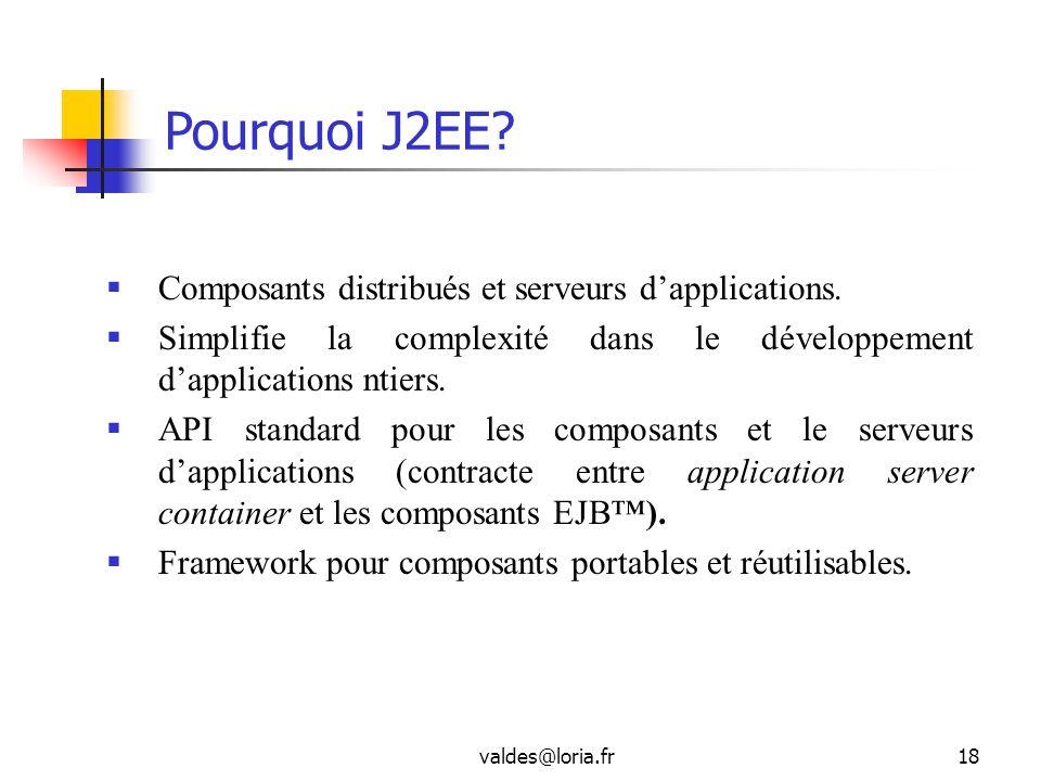 valdes@loria.fr18 Pourquoi J2EE? Composants distribués et serveurs dapplications. Simplifie la complexité dans le développement dapplications ntiers.