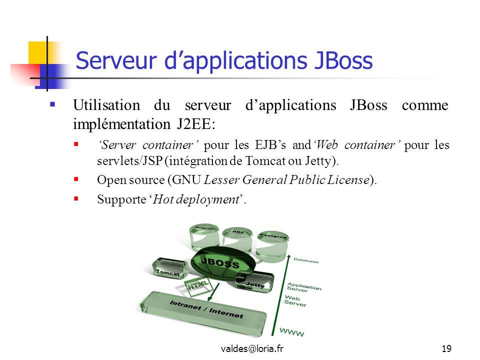valdes@loria.fr19 Serveur dapplications JBoss Utilisation du serveur dapplications JBoss comme implémentation J2EE: Server container pour les EJBs and