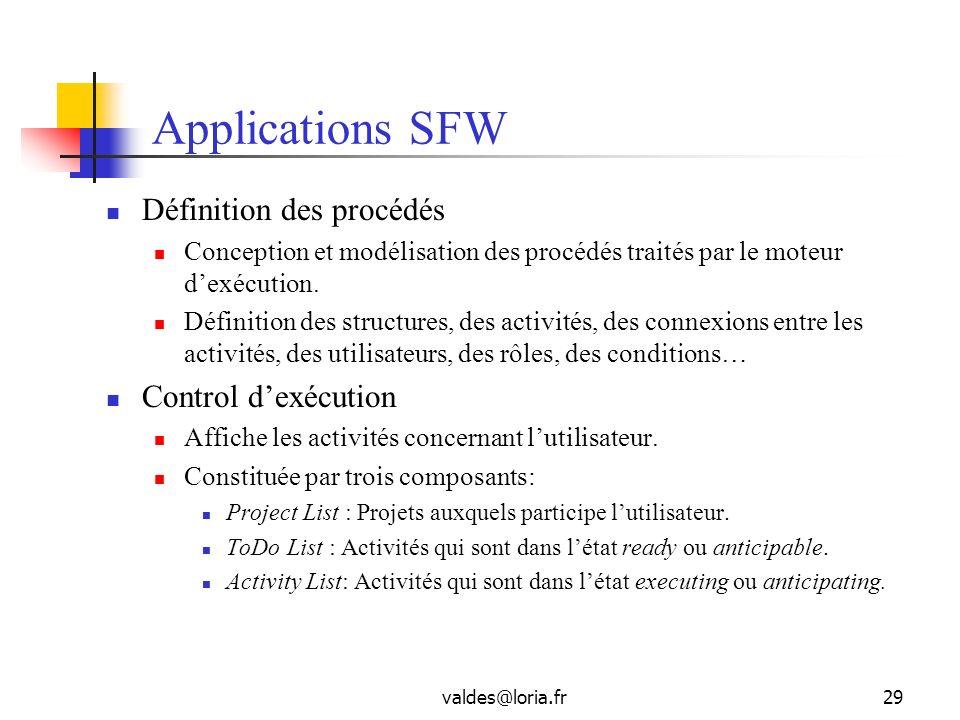 valdes@loria.fr29 Applications SFW Définition des procédés Conception et modélisation des procédés traités par le moteur dexécution. Définition des st