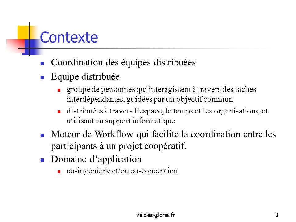 valdes@loria.fr3 Contexte Coordination des équipes distribuées Equipe distribuée groupe de personnes qui interagissent à travers des taches interdépen