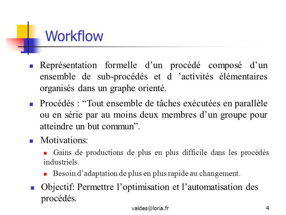 valdes@loria.fr4 Workflow Représentation formelle dun procédé composé dun ensemble de sub-procédés et d activités élémentaires organisés dans un graph