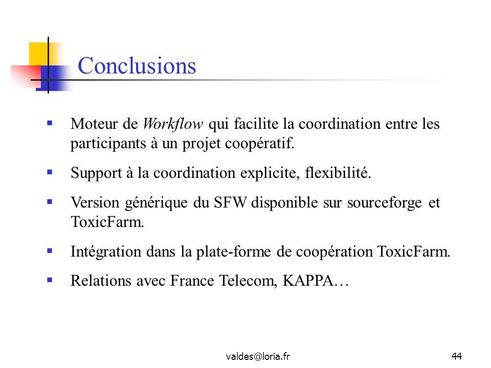 valdes@loria.fr44 Conclusions Moteur de Workflow qui facilite la coordination entre les participants à un projet coopératif. Support à la coordination