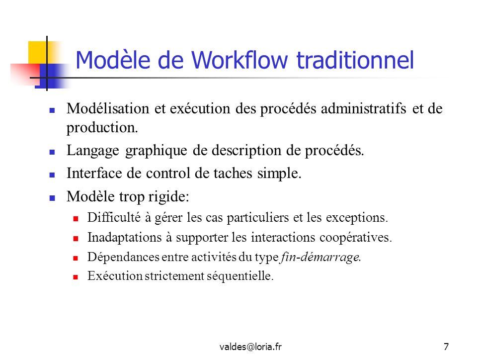 valdes@loria.fr7 Modèle de Workflow traditionnel Modélisation et exécution des procédés administratifs et de production. Langage graphique de descript