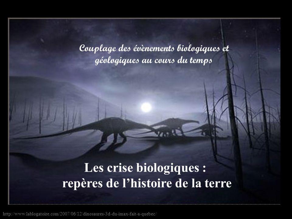 Les crise biologiques : repères de lhistoire de la terre Couplage des évènements biologiques et géologiques au cours du temps http://www.lablogatoire.