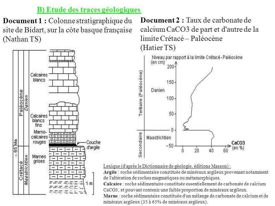 B) Etude des traces géologiques Document 1 : Colonne stratigraphique du site de Bidart, sur la côte basque française (Nathan TS) Document 2 : Taux de