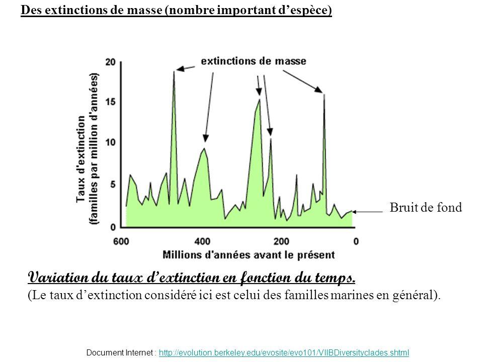 Variation du taux dextinction en fonction du temps. (Le taux dextinction considéré ici est celui des familles marines en général). Document Internet :