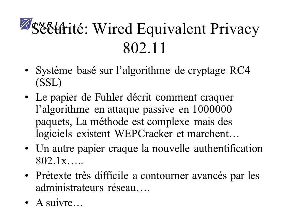 Sécurité: Wired Equivalent Privacy 802.11 Système basé sur lalgorithme de cryptage RC4 (SSL) Le papier de Fuhler décrit comment craquer lalgorithme en attaque passive en 1000000 paquets, La méthode est complexe mais des logiciels existent WEPCracker et marchent… Un autre papier craque la nouvelle authentification 802.1x…..
