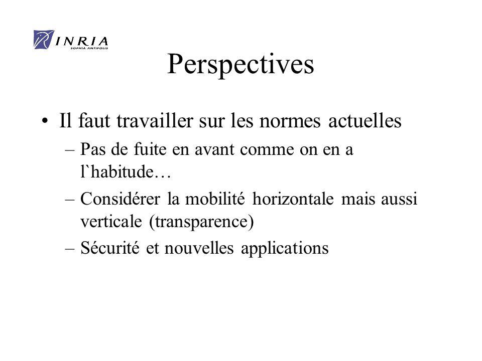 Perspectives Il faut travailler sur les normes actuelles –Pas de fuite en avant comme on en a l`habitude… –Considérer la mobilité horizontale mais aussi verticale (transparence) –Sécurité et nouvelles applications