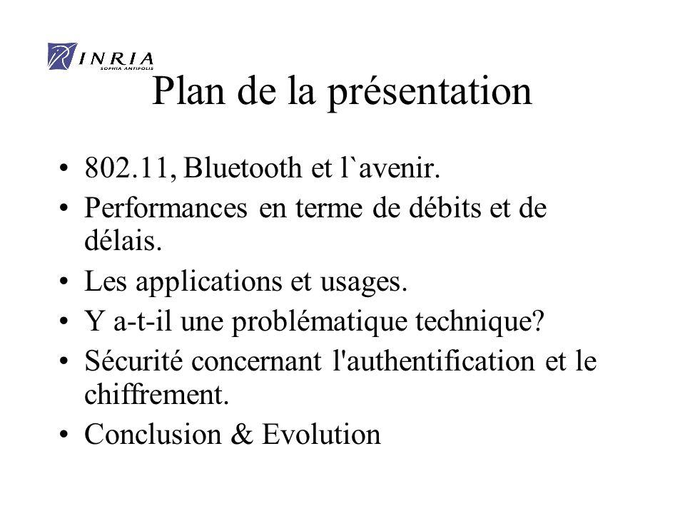 Plan de la présentation 802.11, Bluetooth et l`avenir.