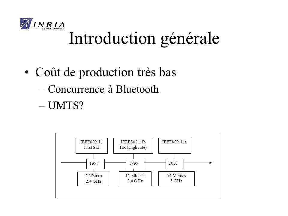 Introduction générale Coût de production très bas –Concurrence à Bluetooth –UMTS.