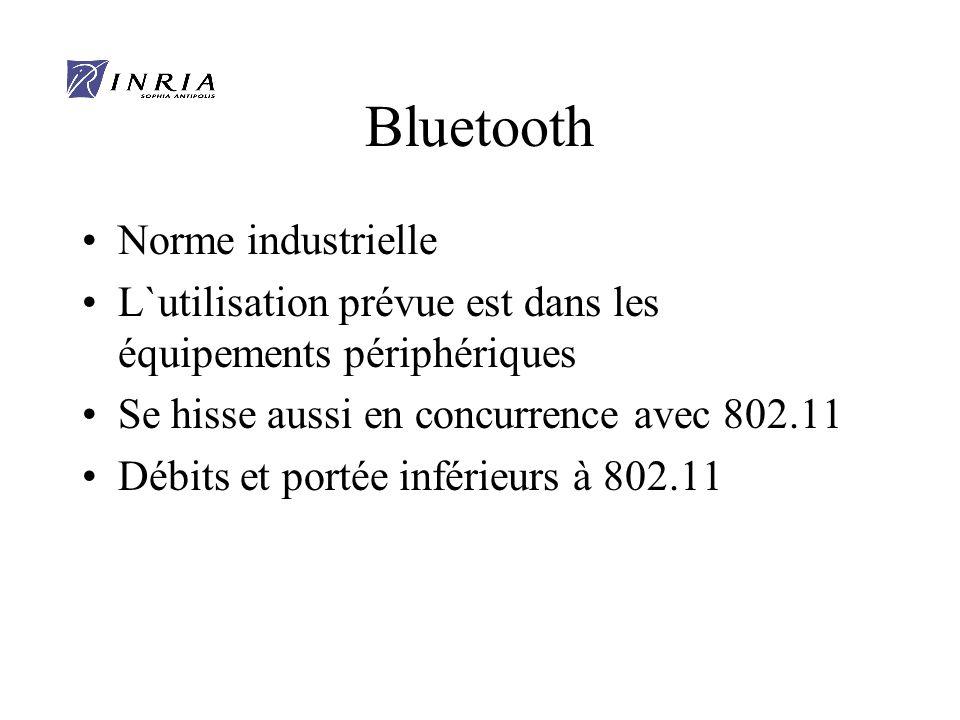 Bluetooth Norme industrielle L`utilisation prévue est dans les équipements périphériques Se hisse aussi en concurrence avec 802.11 Débits et portée inférieurs à 802.11
