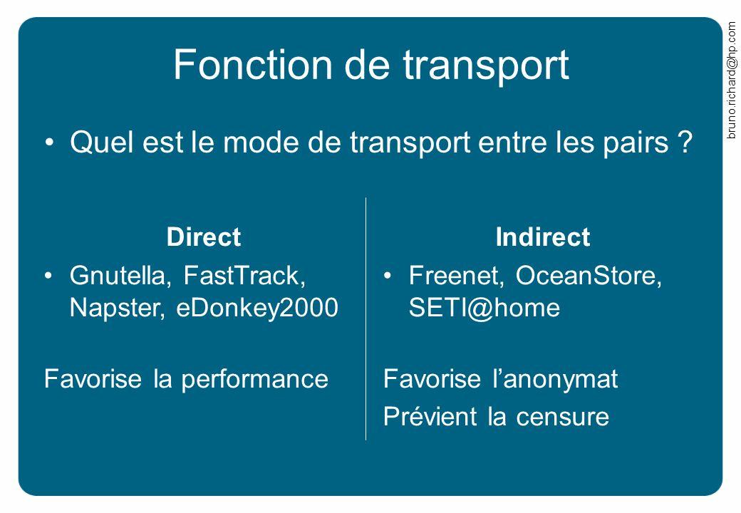 bruno.richard@hp.com Direct Gnutella, FastTrack, Napster, eDonkey2000 Favorise la performance Fonction de transport Indirect Freenet, OceanStore, SETI