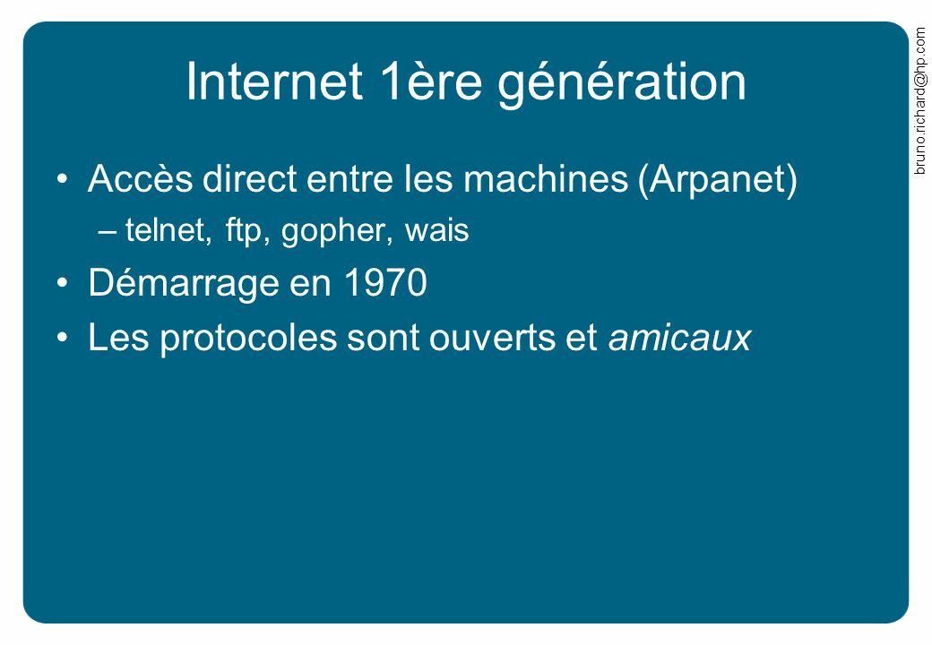 bruno.richard@hp.com Internet 1ère génération Accès direct entre les machines (Arpanet) –telnet, ftp, gopher, wais Démarrage en 1970 Les protocoles so
