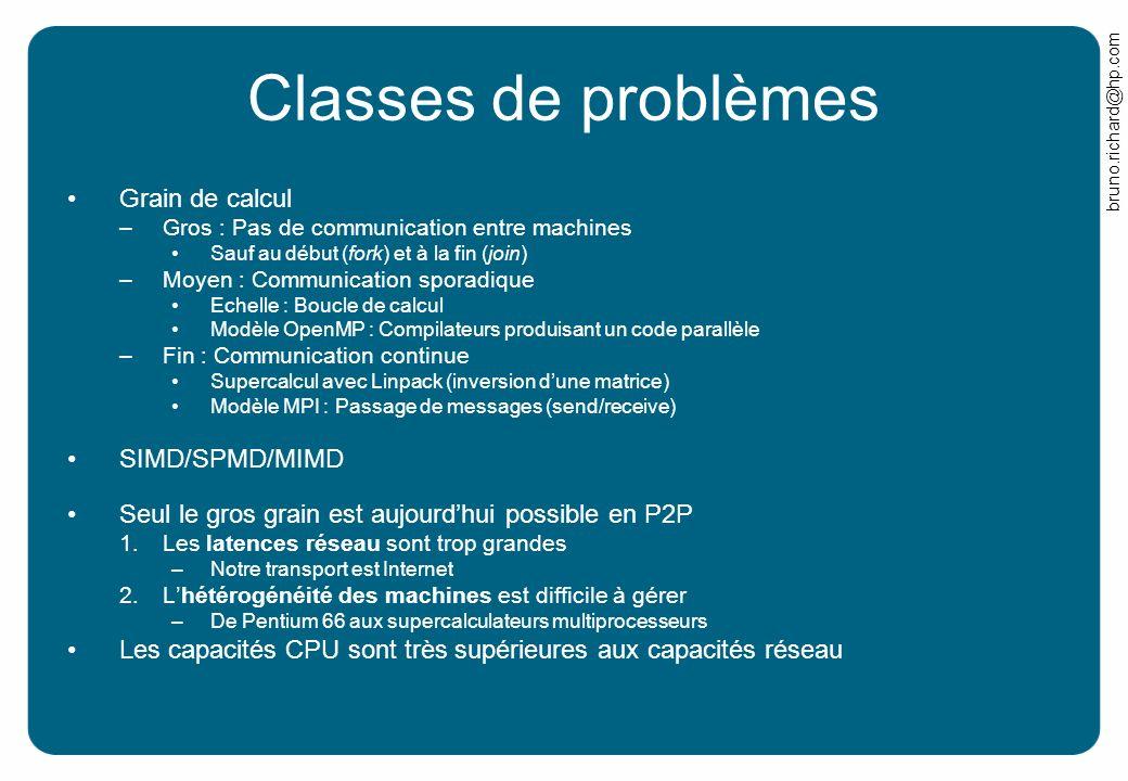 bruno.richard@hp.com Classes de problèmes Grain de calcul –Gros : Pas de communication entre machines Sauf au début (fork) et à la fin (join) –Moyen :