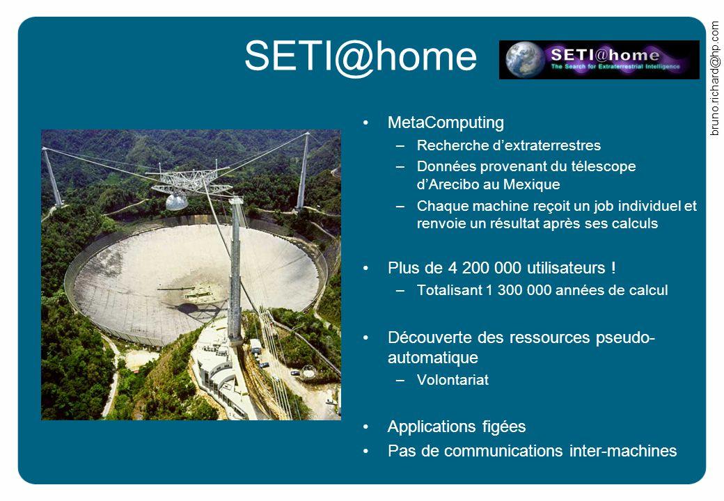 bruno.richard@hp.com SETI@home MetaComputing –Recherche dextraterrestres –Données provenant du télescope dArecibo au Mexique –Chaque machine reçoit un