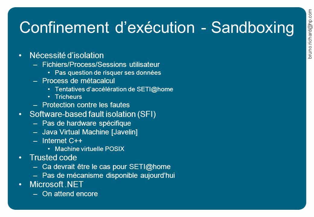 bruno.richard@hp.com Confinement dexécution - Sandboxing Nécessité disolation –Fichiers/Process/Sessions utilisateur Pas question de risquer ses donné