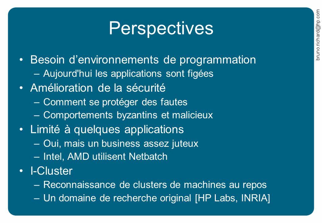 bruno.richard@hp.com Perspectives Besoin denvironnements de programmation –Aujourd'hui les applications sont figées Amélioration de la sécurité –Comme