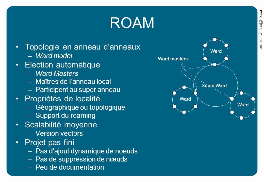 bruno.richard@hp.com ROAM Topologie en anneau danneaux –Ward model Election automatique –Ward Masters –Maîtres de lanneau local –Participent au super