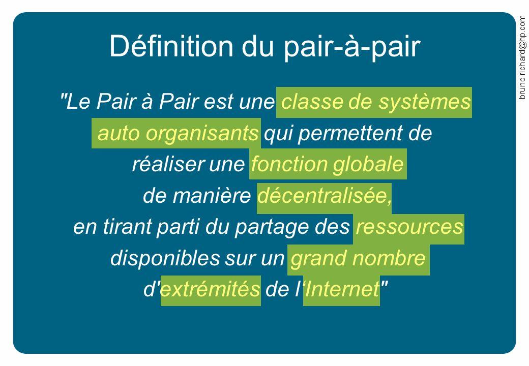bruno.richard@hp.com Internet 2ème génération World Wide Web –Tim Berners-Lee proposed protocols –HTTP, HTML Hyperliens de page a page –Internet devient une toile (Web) Lutilisateur est au centre du Web –Mais la publication est difficile