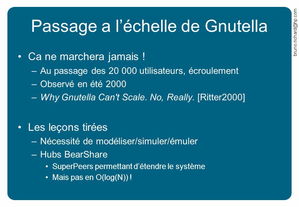 bruno.richard@hp.com Passage a léchelle de Gnutella Ca ne marchera jamais ! –Au passage des 20 000 utilisateurs, écroulement –Observé en été 2000 –Why