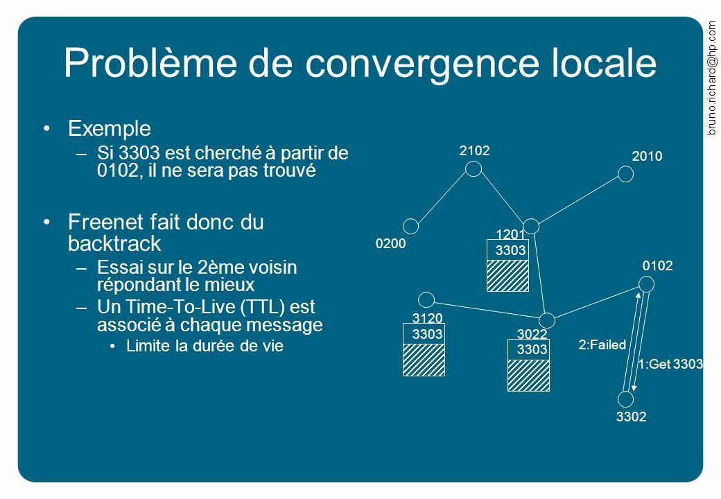 bruno.richard@hp.com Problème de convergence locale Exemple –Si 3303 est cherché à partir de 0102, il ne sera pas trouvé Freenet fait donc du backtrac