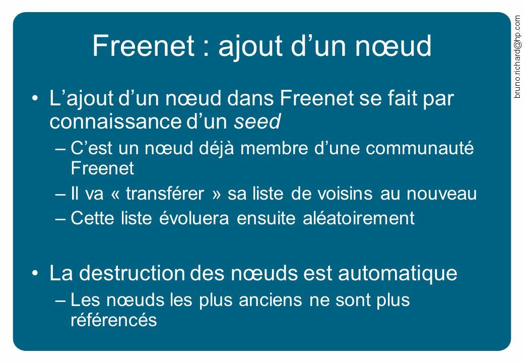 bruno.richard@hp.com Freenet : ajout dun nœud Lajout dun nœud dans Freenet se fait par connaissance dun seed –Cest un nœud déjà membre dune communauté