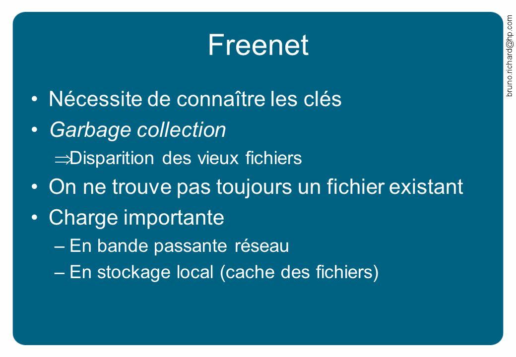 bruno.richard@hp.com Freenet Nécessite de connaître les clés Garbage collection Disparition des vieux fichiers On ne trouve pas toujours un fichier ex