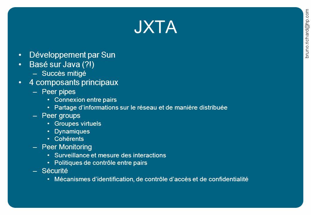 bruno.richard@hp.com JXTA Développement par Sun Basé sur Java (?!) –Succès mitigé 4 composants principaux –Peer pipes Connexion entre pairs Partage di