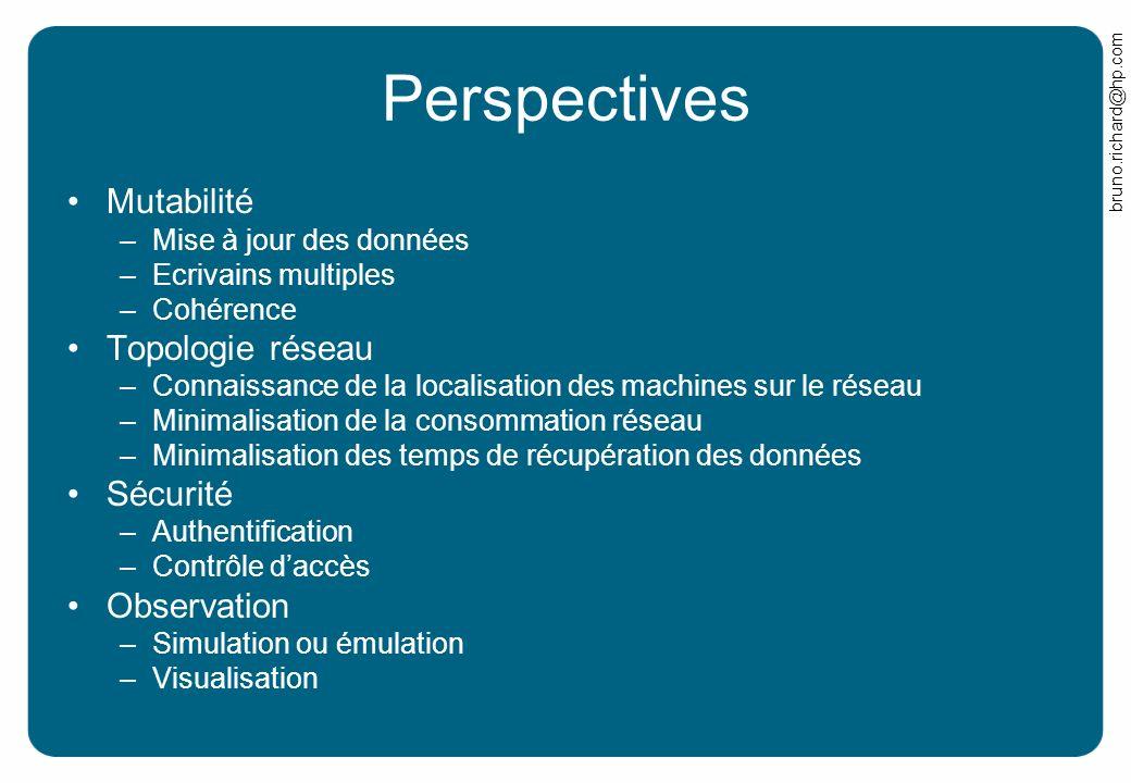 bruno.richard@hp.com Perspectives Mutabilité –Mise à jour des données –Ecrivains multiples –Cohérence Topologie réseau –Connaissance de la localisatio