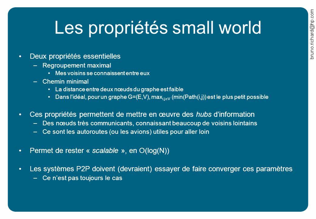 bruno.richard@hp.com Les propriétés small world Deux propriétés essentielles –Regroupement maximal Mes voisins se connaissent entre eux –Chemin minima