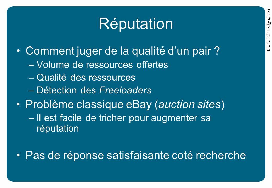 bruno.richard@hp.com Réputation Comment juger de la qualité dun pair ? –Volume de ressources offertes –Qualité des ressources –Détection des Freeloade