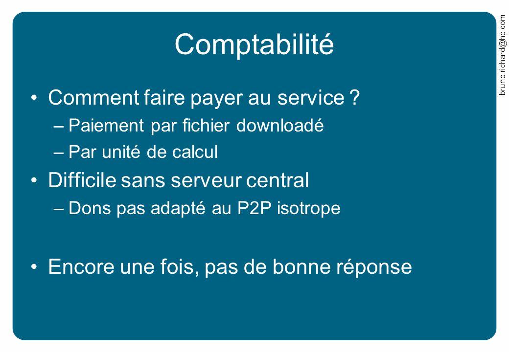 bruno.richard@hp.com Comptabilité Comment faire payer au service ? –Paiement par fichier downloadé –Par unité de calcul Difficile sans serveur central