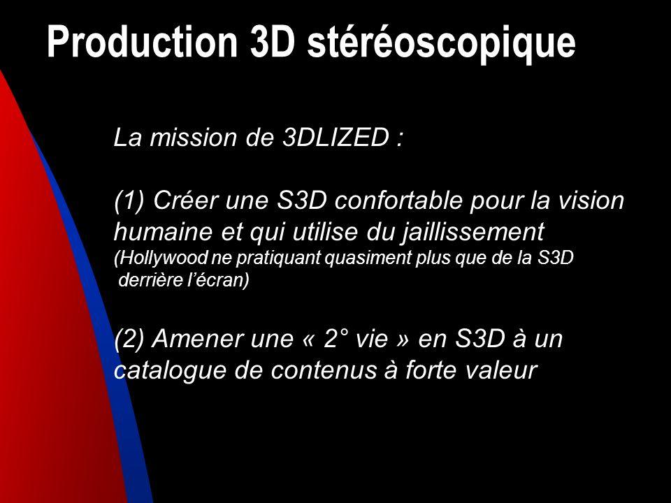 Production 3D stéréoscopique La mission de 3DLIZED : (1) Créer une S3D confortable pour la vision humaine et qui utilise du jaillissement (Hollywood n